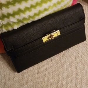 Handbags - Large Black Leather Wallet with gold accents